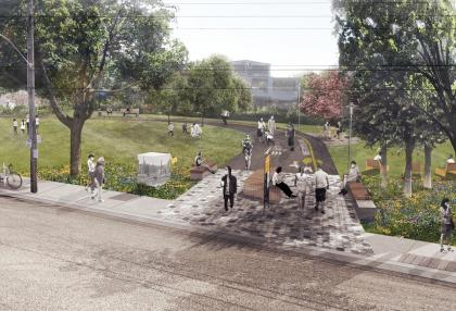 Artist's rendering of option for the Geary Avenue Park Expansion. (DTAH)