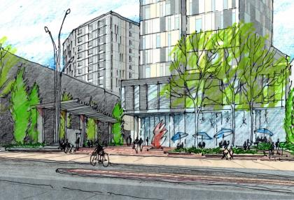Sketch by DTAH of Wyndham Square at Baker District Redevelopment